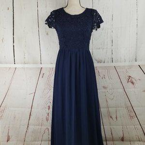 Lulus Maxi Dress Sz S Navy Blue Lace Pleated
